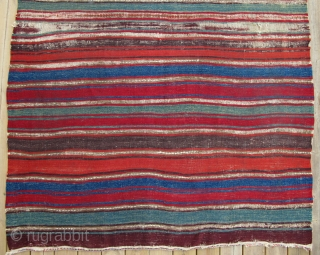 Small Format Anatolian Kilim,120x170cm,mid 19th century,beautiful and clear colors,very fine weave,original sides and ends,corroded browns.
