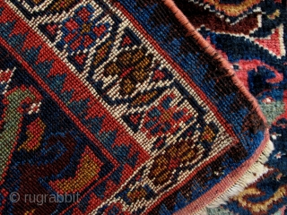 Veramin Kurd Bagface,ca 1880,50x75cm,beautiful clear all natural colors,velvety soft and glossy wool,strong graphics in large scale,good condition.