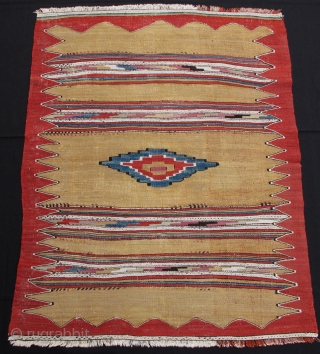 Manastir Kilim,ca.1860,95x120cm,beautiful yellow ground,all natural colors,fine weave,rare design,great shape!