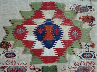 Anatolian Kilim Fragment, early 19th century,125x185cm, very fine weave, interesting details, beautiful colors including outstanding light green! Professionally mounted on linen.