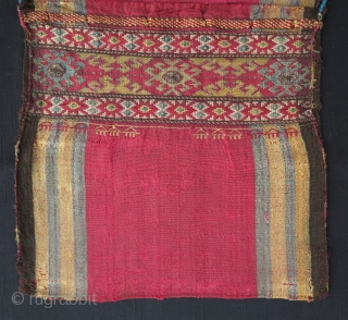 Complete Karabagh Silk Khorjin, first half of 19th century, 80x32cm, extremely finely woven in jajim technique with sumak decorations outlined with metal threads. Probably made in Nagorno Karabagh by Armenian master weaver.  ...