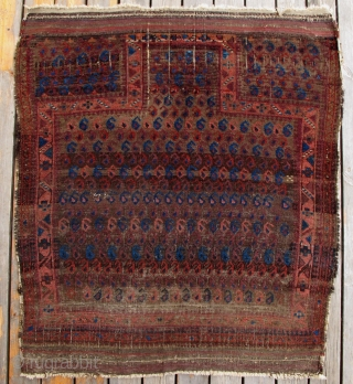 Timuri Baluch Prayer Rug,95x110cm,late 19th century,very unusual design,great colors,fine weave.FUN!!!
