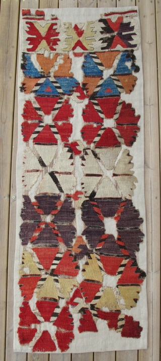 18th century Central Anatolian Kilim Fragment,60x160cm,amazing colors,bold archaic design.WOW!