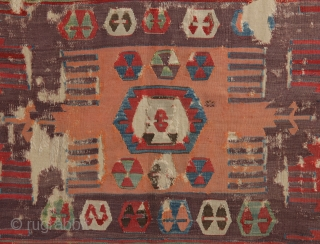 Early Central Anatolian Kilim Fragment, 18th century, 150x190cm. Slightly damaged, but still retains it's real classical beauty...