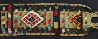 South Persian Mixed Technique Band/Trapping, ca. 1900, 12x350cm, beautiful colors, fine silky wool, soft and meaty handle. Rare and genuine dowry item of great quality!!!