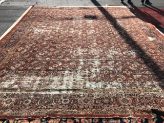 Antique persian mahal distressed   approx 12x15ft