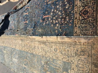 13x27 antique Indian rug reduced in size needs repair  has glue on the edges needs to be cleaned