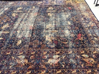 1880 Antique persian kerman hunting scene angels,horses, lions, dears 