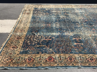 12.10x27 antique rug oversized beautiful need of some repairs