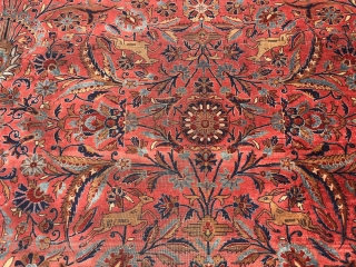 Antique finest kashan Rug signed . with birds and deer's 11x19 great condition no holes or patches no dry rot original size