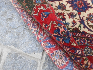 333 x 221  cm.   Oriental carpet knotted in the city of ESFAHAN   OLD persian piece in perfect condition and very fine knot.  Olter info or photo on request.