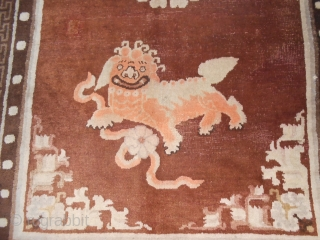 Size   cm 264 x 161 cm. ANTIQUE Chinese piece knotted in the region of PAO-TAO. In very good condition (only some repils). Natural dyes. Original design with two FOO DOGS. Other photos on request. ALL the  ...