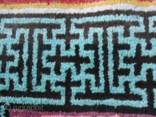 331 x 173 cm is the size of this carpet. A very beautiful Oasis of Xinjiang, East Turkestan, KHOTAN antique piece with original panel pattern. A similar piece has been showed in an important  ...