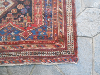 177 x 144 cm. Antique Persian tribal AFSHAR: This piece has been knotted very fine. Natural dyes, wool on wool .  For other photos and info about this AFSHAR don't hesitate to contact. Warm regards  ...