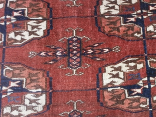 """Perfect condition for this piece knotted in Afghanistan Tribe Turkmen Arabatchi, group ERSARI. With a main border design """"Boats"""", very beautiful.  Gols tekke for this antique piece. With inscriptions  upon the corners. Fine knot. This  ..."""