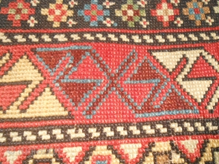 Size 155 x 103 cm. Antique Caucasus SHIRVAN knotted around 1860/1880. In very good condition. Look the photos. Very beautiful chromatic palette with shining colours. It is a DAGHESTAN village. Don't hesitate to contact  ...