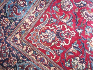 220 x 145 cm is the size of this ANTIQUE PERSIAN capet knotted in the village of TUDESHK.  EXTRA fine knot for this one. ANY problem, all original, full pile. Shiny wool and  ...