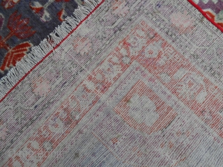 324 x 161 cm  is the size of this antique EAST-TURKESTAN carpet khotted in the OASIS
