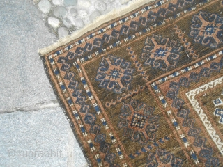 290 x 168  cm. is the size of this antique BELOUCH tribe Mushwani. Good conditions and shiny wool. The carpet has been washed.  All natural dyes for this antique carpet. Original ends  ...