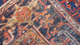 354 x 257 cm is the size of this anttique  KARADJEH-AZERBAIJAN. Carpet antique in very good condition. Fastened and brilliant dyes. Has been washed. Very beautiful size for this quality of antique  ...