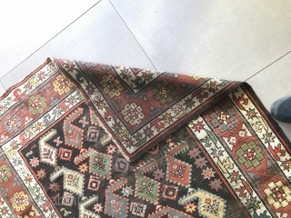 Antique carpet CAUCASUS knotted in the Karabagh region.