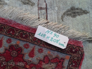 208x118 cm Antique dated 1331/1333 Egira (moon) = Gregorian calendar 1912/1916 (soon). In very good condition (only 3/4 little old repils). Very original pictorial carpet with PANORAMA of Bisanzio (Costantinopoli). Fastened colors vegetal.  More info  ...