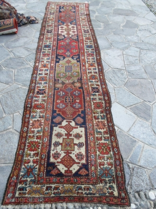 Antique runner knotted in north-west Persia by the nomadic tribe of Shahsavan, Moghan area. Very unusual pattern for a runner; with design was knotted in the mafrash of this nomadic tribe. All the  ...