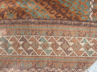 297 x 140  cm Antique Belouch Mushwani tribe. Perfect condition, wool on wool and only natural dyes! All original ends, selvedges and size. Full pile. Shiny pile and very fine knot. More photos and more info  ...