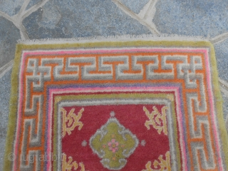 307 X 66 CM.  IS THE SIZE OF THIS ANTIQUE RUNNER OF KHOTAN.