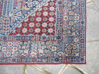 216 X140  CM. IS THE SIZE OF THIS ANTIQUE PERSIAN CARPET.
