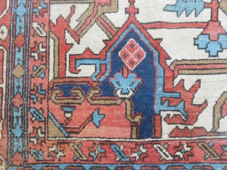 321 x 261 cm = size ft. 10.52 by ft.8.56.  Wonderfull piece knotted in Azerbaijan, Nort-Persian province. This is an antique SERAPI carpet end XIX th. century.  Good condition (look all the photos). No stains, and  ...