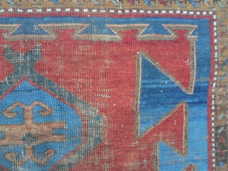 Antique Kazakh from Caucasus in fair condition. Wool on wool and natural colors for this piece. Very archaic design and shiny colors. More info or pictures on request. REGARDS from COMO !      ...