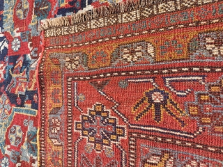 """Antique Qhasqai Rug in fine condition , no repair or paint. High quality wool and good work. Size is 285x142cm / 9'4"""" x 4'7""""  For other photos , details or price feel  ..."""
