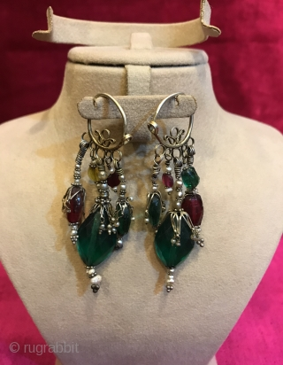 Vintage Uzbek handmade silver earring 