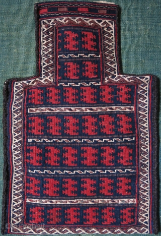 "Afghanistan Baluch kilim salt bag, all wool, goat hair side wrappings, natural colors, great condition.  Circa 1920s. Size: 52 cm x 33 cm (21"" x 13"")."