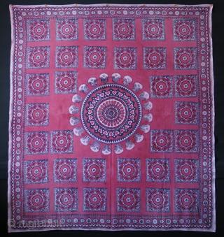 "Tashkent block print with palak suzani design. Size:173 cm x 155 cm (68"" x 61"")."
