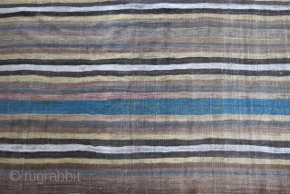"Luri Baktiari tribal minimalist bedding pile cover kilim. All wool  2"" narrowed from each side. Faded fuchsine and good natural colors. A real tribal weaving. Circa late 19th. Size: 89"" X 52"" (225 cm  ..."