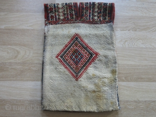A very nice sample of Turkish kilim saddle bag, with a traditional weaving technique called zili. It is from Konya region, Central Anatolia. Circa 1930-40s. All wool with some natural some unnatural  ...