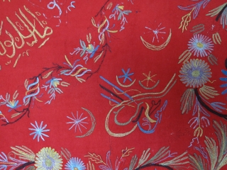 "Istanbul Tepebasi very fine silk embroidery bokhcha. Circa late 19th century.  Length: 127 cm x width: 134 cm (50"" x 52.7"")."