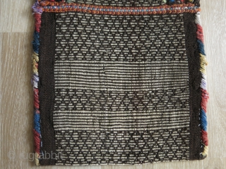 "Persian Hallach tribal salt bag. Double side warp face woven. Circa 1920. Mostly natural colors. Size: 32 cm x 47 cm (12.5"" x 18.5"")."