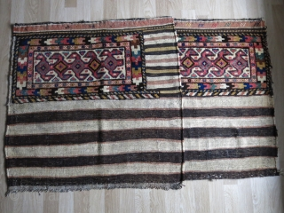 "A pair of Persian Kurdish sacks. Wool and goat hair mix. Late 19th century. Size when they are: 115 cm 118 cm ( 45.5"" x 46.5"") / 112 cm x 118 cm  ..."