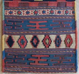 "Caucasus  Shahsavan small size double bag, kilim and soumak weave with natural colors. Side wrapping redone in later period with natural yarns. Size: 65 cm x 29 cm (25"" x 11.5"").  ..."
