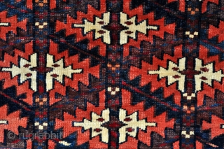 "Turkmen Yomud Goklan Bagface - offset knotting, great colors, tight weave - see close up detail pictures - 22"" x 16"" - 56 x 41 cm."
