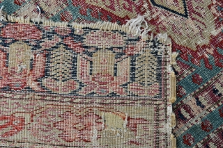"Ghordes Small rug or Yastik - West Anatolian - 19th c. - lazy lines, wool warps & cotton wefts. - 26"" x 42"" - 66 x 108 cm."