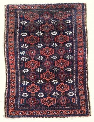 Lovely Arab Baluch rug depicting the whole family in the field, including their pet :)  - 3'2 x 4'3 - 97 x 130 cm.