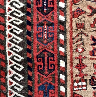 Khorassan Baluch rug with camel field, great colors and rare design - 3'7 x 5'5 - 110 x 165 cm. - asymmetric open right with heavily depressed warps.