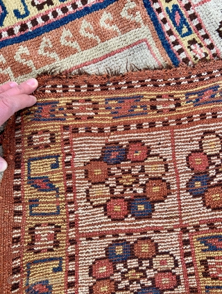 Manastir Prayer Rug in good original condition, rare ivory field and border - 3'9 x 5'2 / 115 x 157 cm. 