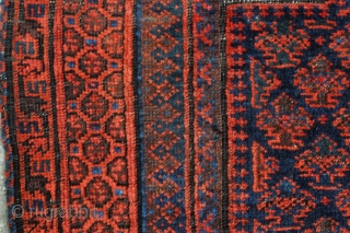 Dokhter-e-Qazi Timuri Baluch Prayer rug. Mid 19th century. Tight, fine weave and glorious natural colors including a clear green! It is in good original condition, no repairs, minor signs of wear, side  ...