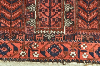 Timuri Baluch rug with Qalem Dani design, Goats and Beautiful border, interesting selvage finish - 3'7 x 6'11 - 107 x 210 cm.