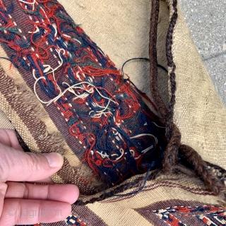 "Turkmen Yomud Torba complete with back, straps & tassels.  30"" x 17"" / 77 x 44 cm."